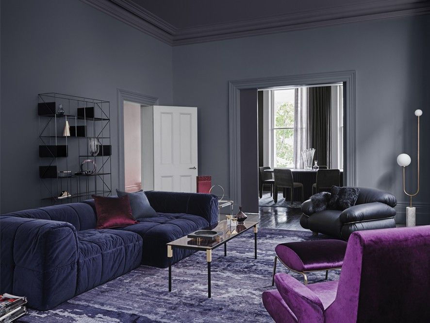 Dulux 2018 Colour Forecast Reflect Dark Grey Living Room with Purple ...