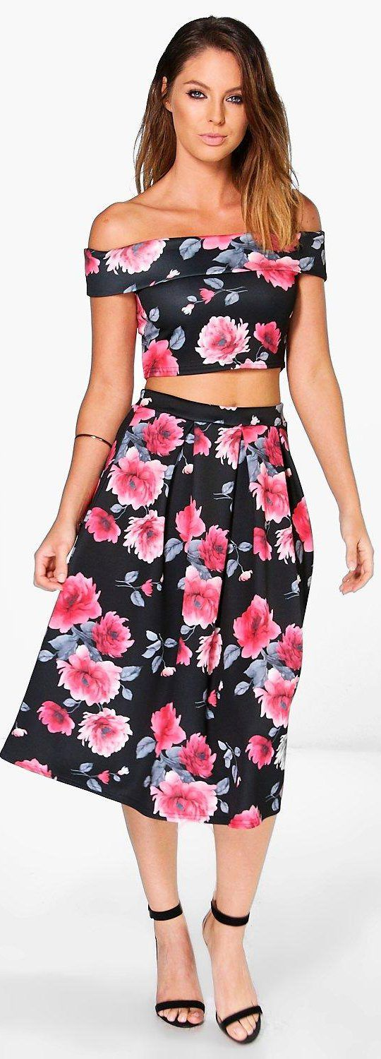 0b57c395f1 Penelope Porcelain Print Top And Midi Skirt Co Ord Set | Huston ...