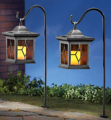 Awesome Solar Garden Candle Lantern With Shepherdu0027s Hook Stake