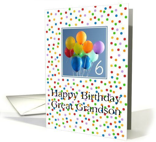 Happy 1st Birthday Great Grandson 6th Birthday Card For Great