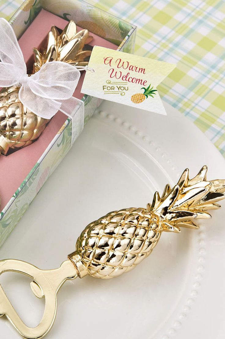 Pineapple Bottle Opener Yellow Gold with Tropical Gift Box