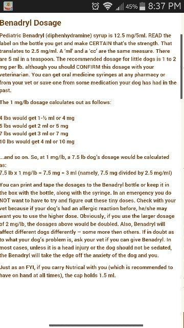 Dosage Of Benadryl For Dogstwinkie Gets 15ml Of Childrens
