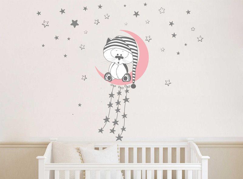 Kinderzimmerdekoration - Wandtattoo Kinderzimmer | Katze auf dem ...
