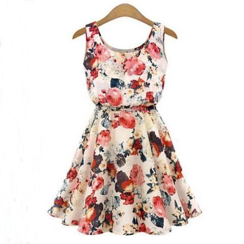 Fashion Printed Round Neck Sleeveless Dress