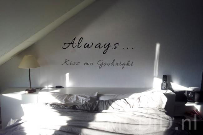 diy muurtekst slaapkamer muurschildering - home and styling, Deco ideeën