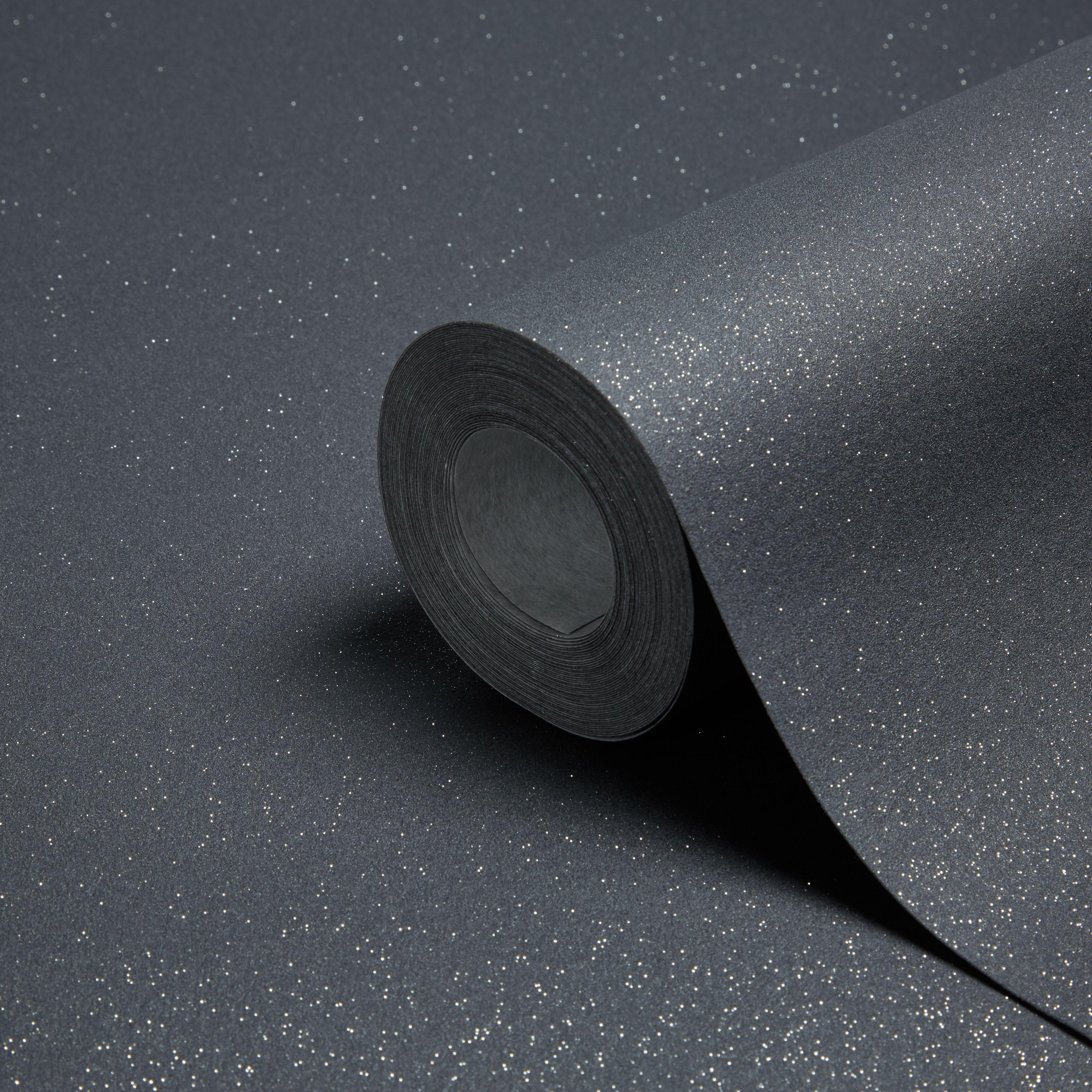 grandeco expressions black plain glitter effect wallpaper