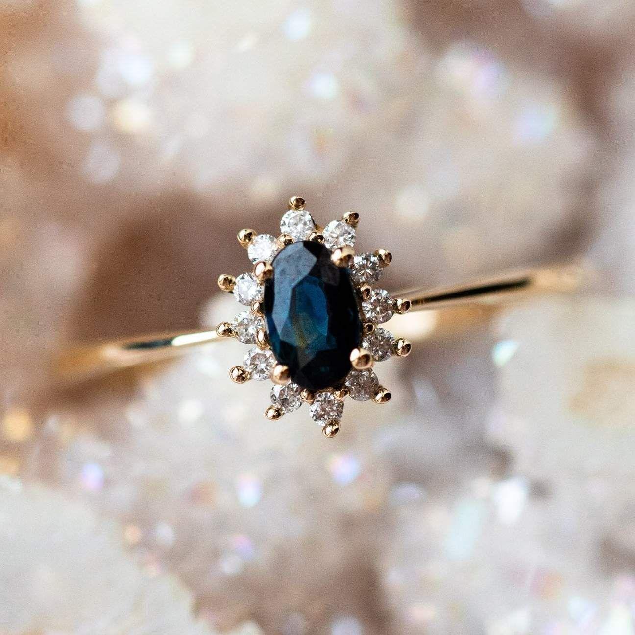 14kt Teal Sapphire & Diamond Fleurette Ring Engagement