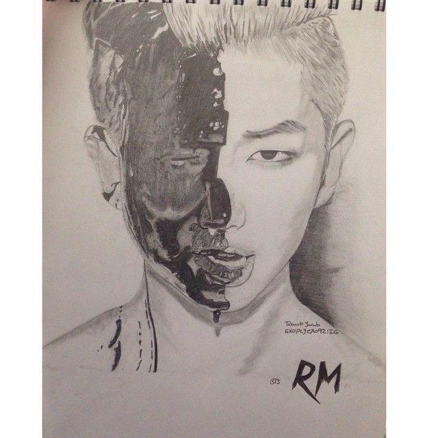 Mulpix Drawing Bts Rm Rapmonster Draw Kpop Bangtanboys V