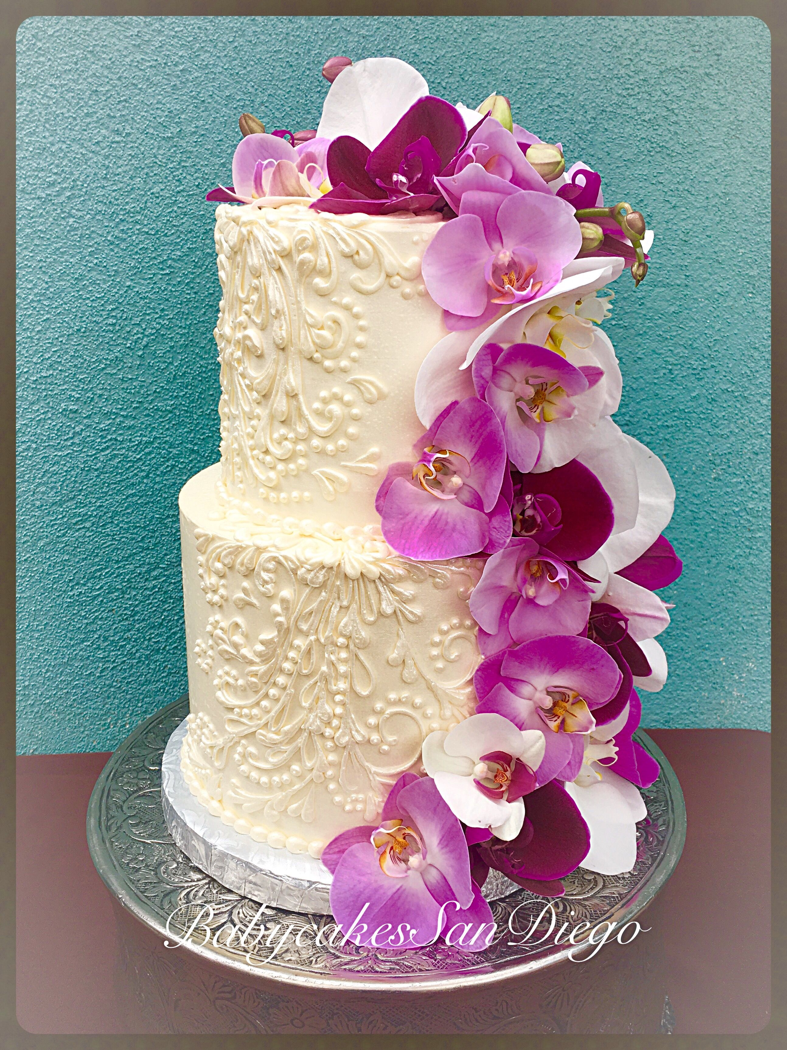 Two tier wedding cake,French buttercream frosting hand free pipping ...