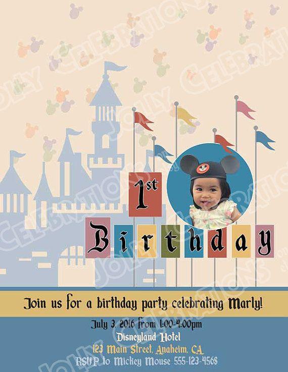 Vintage Disney 1st birthday invitation - Disneyland Sign in 2018