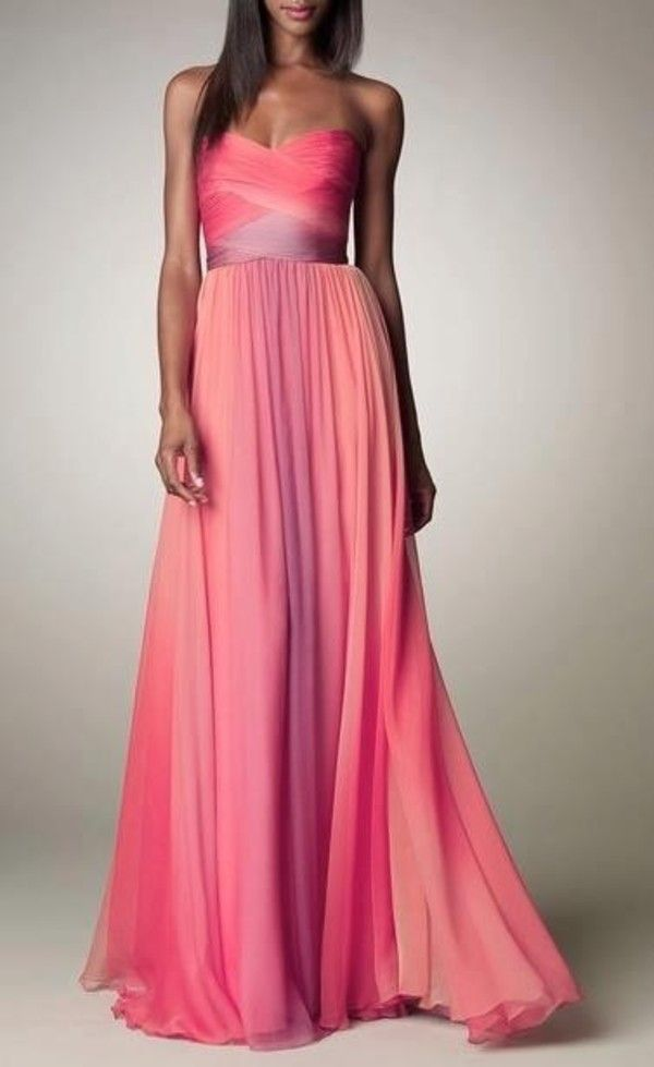 Ombre Ruched Gown - Neiman Marcus | Pinterest