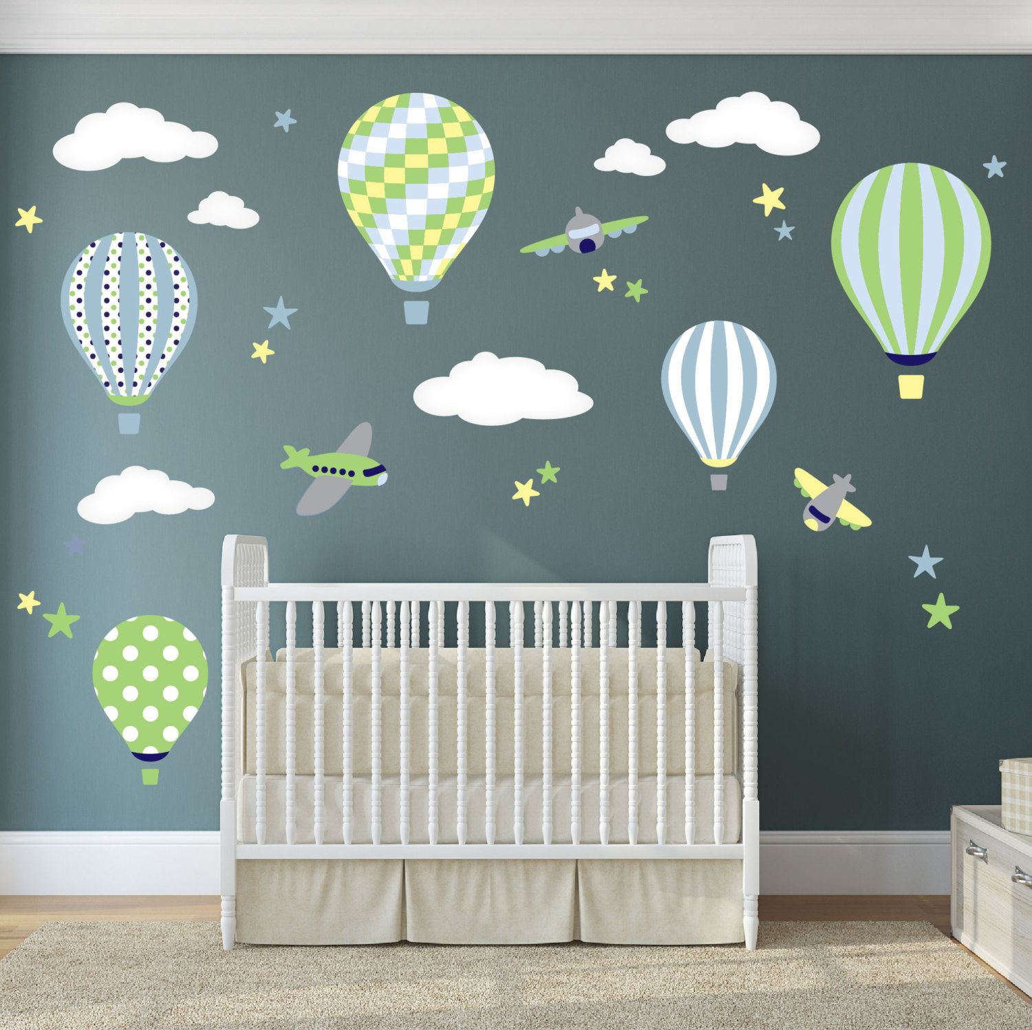 Best Balloon Decal Plane Wall Stickers Yellow Stars And White Clouds Boys Nursery Toddler Gifts 640 x 480