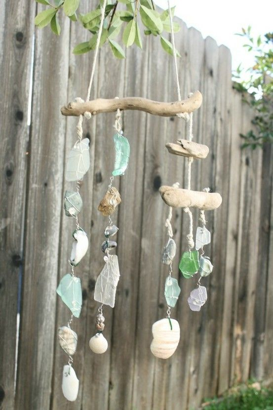 Mobile wind chime shells ad sea glass and driftwood for Shell wind chimes diy