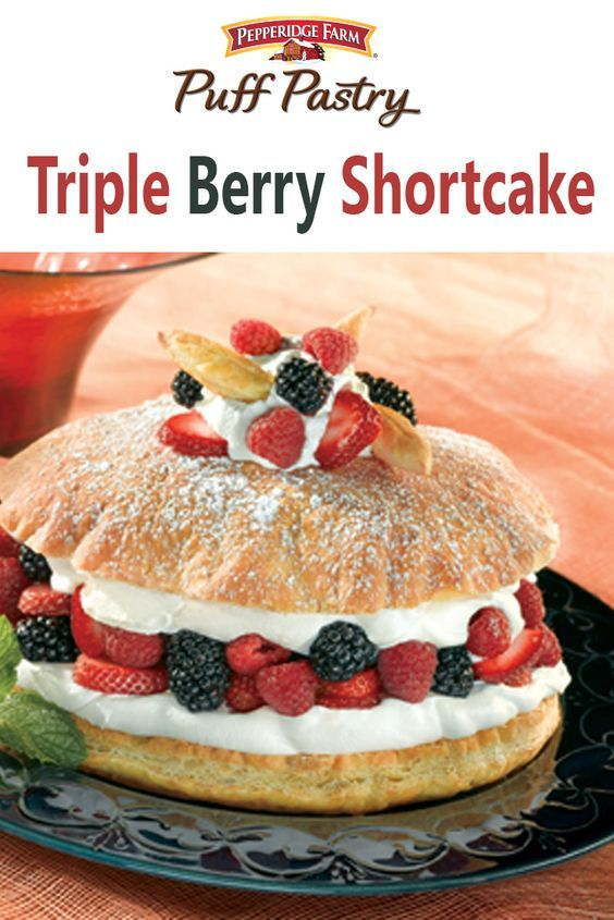 Puff Pastry Triple Berry Shortcake Recipe. Red, white and blue dessert… check! Make this Triple Berry Shortcake for dessert this weekend with layers of flaky Puff Pastry, sweet whipped cream and your favorite berry medley.