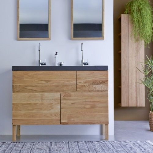 Tikamoon Easy Oak And Lava Stone Vanity Cabinet 120