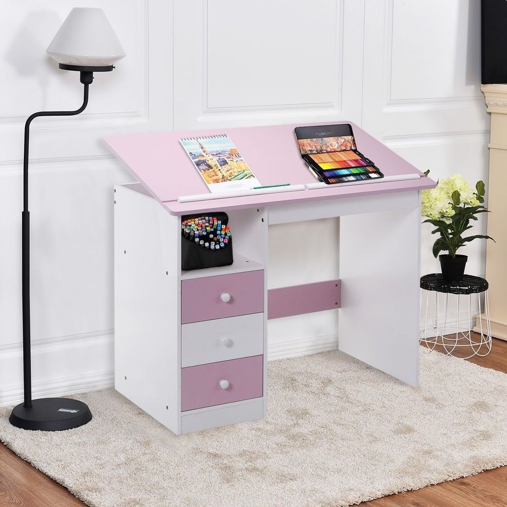 Adjustable drawing writing study desk drafting table pink office