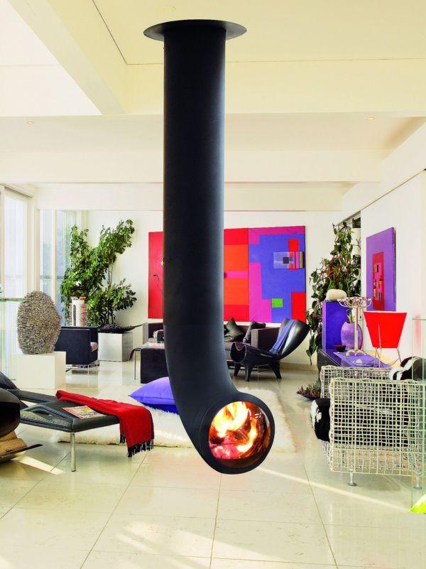 beeindruckender hängender kaminofen im wohnzimmer Chimeneas - moderne luxus kamine