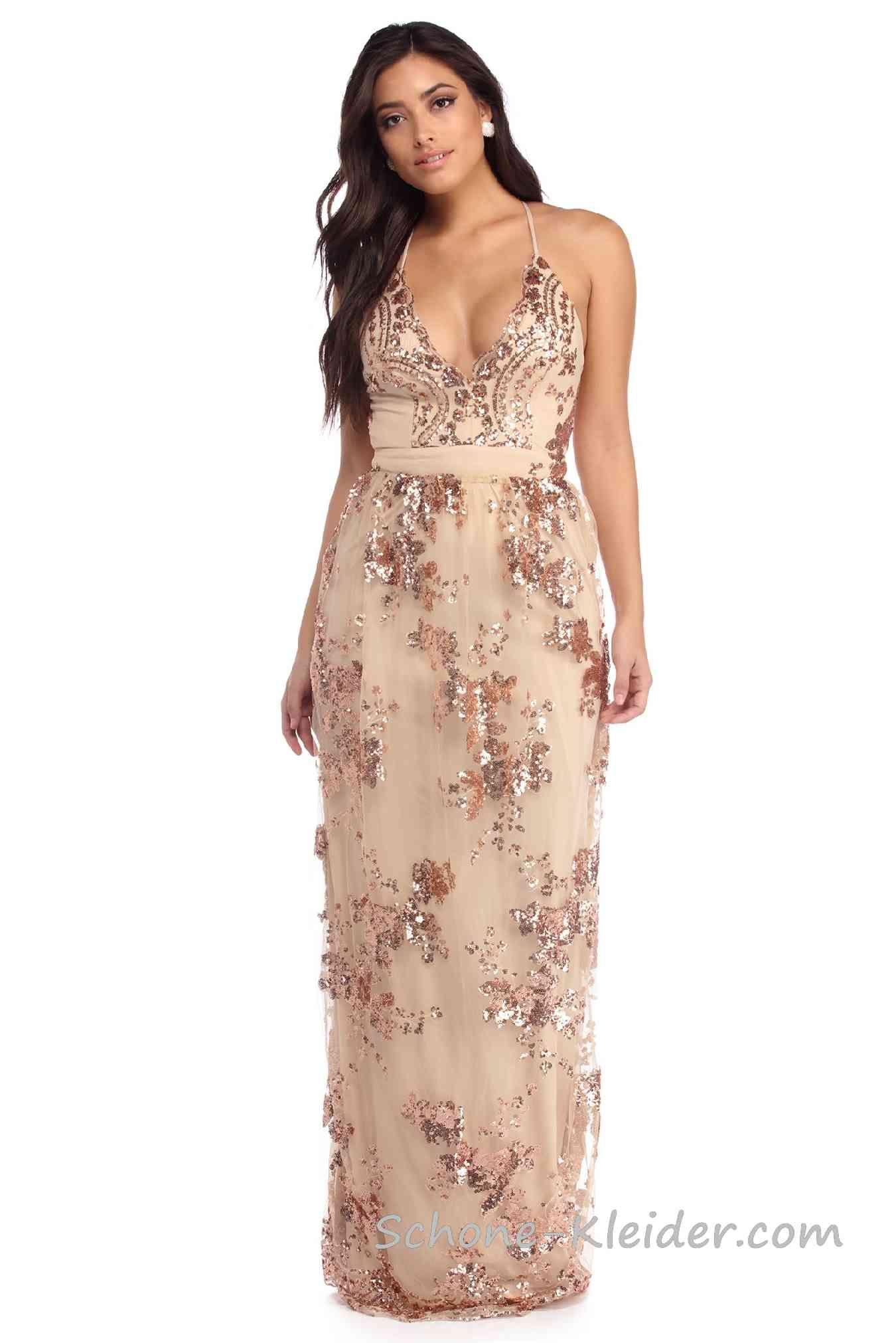 Ärmelloses Paillettenkleid Lang  Pailletten kleid