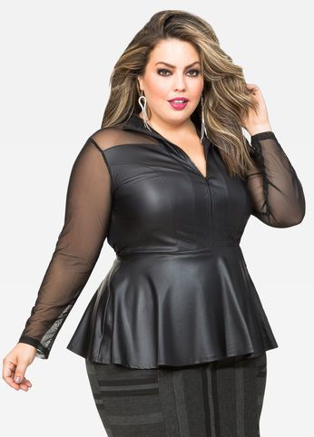 380ee2e9615 Zip Front Mesh Leather Peplum Top Zip Front Mesh Leather Peplum Top