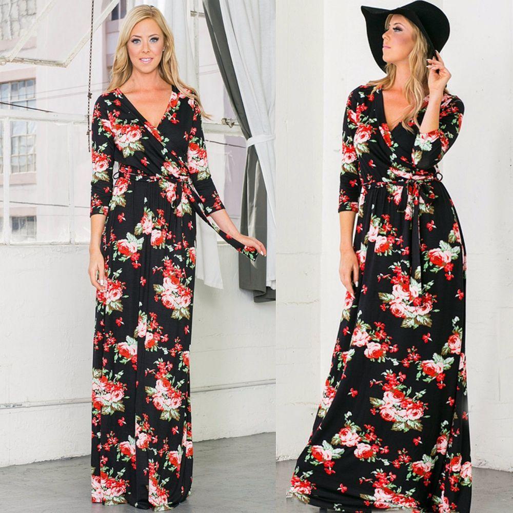 Plus Size Boho 3/4 SLEEVE FLOWY Asymmetrical MAXI DRESS Black Grey ...