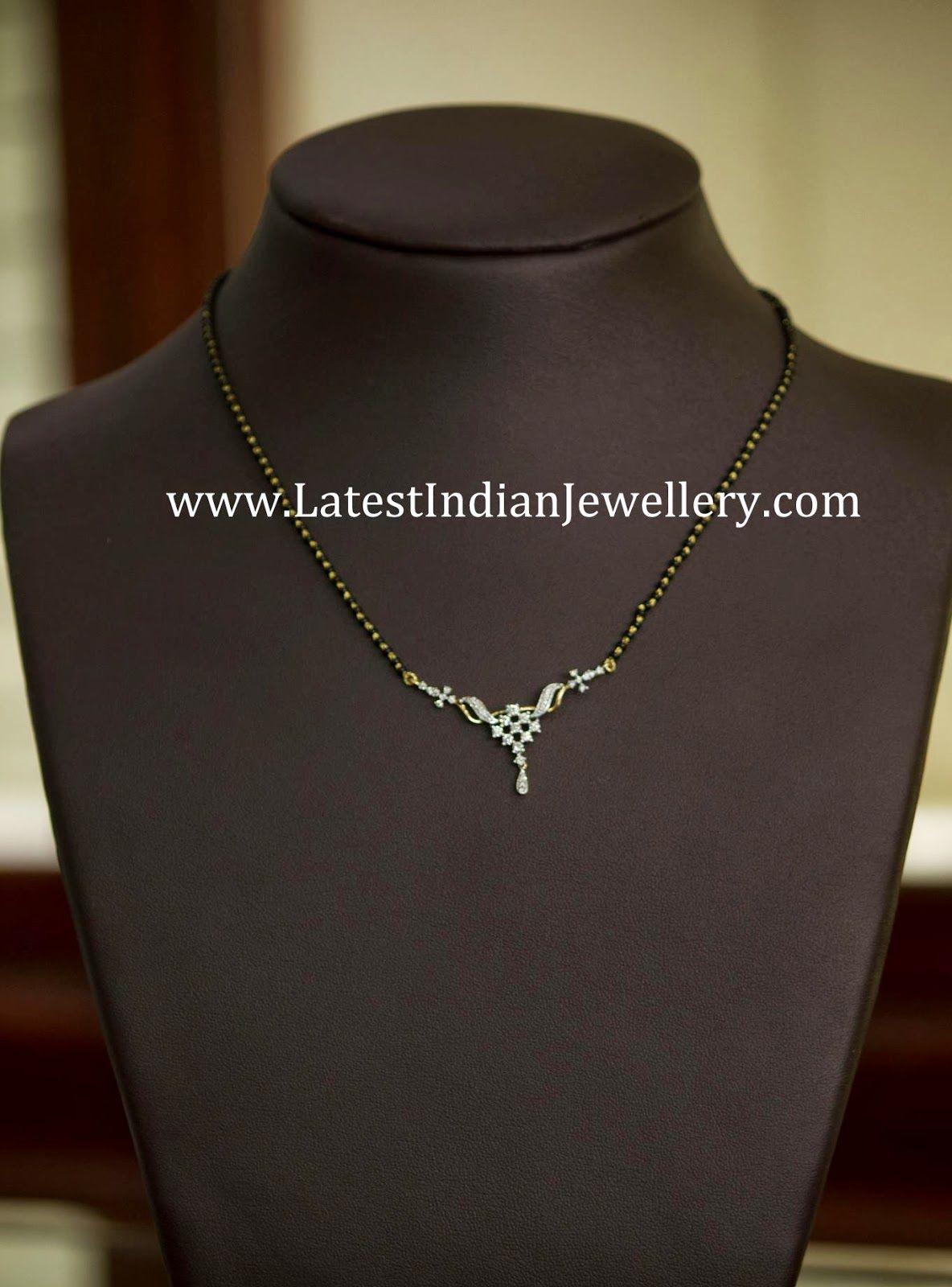 diamond black beads mangalsutra jewels pinterest diamond