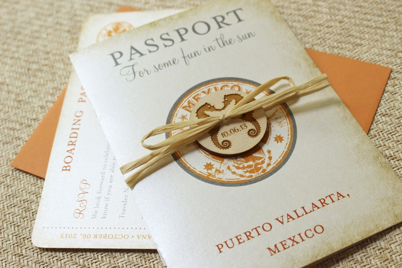 Vintage Mexico Stamp Passport Wedding Invitation | Passport wedding ...