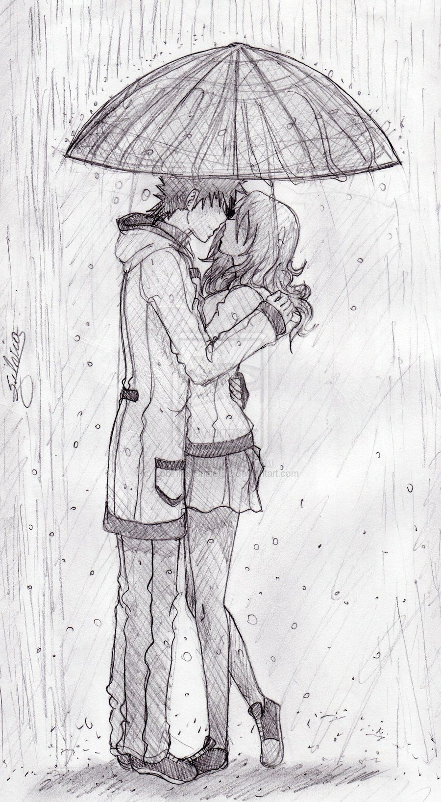 Kiss in the rain drawing