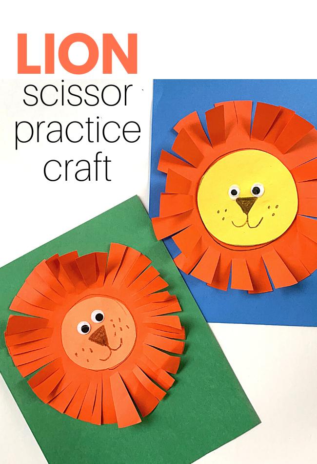 Scissor Skills Practice Lion Craft - No Time For Flash Cards
