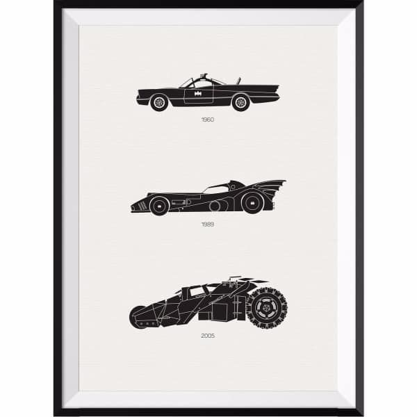The Batman Car Collection Print | Rear View Prints | Wolf & Badger