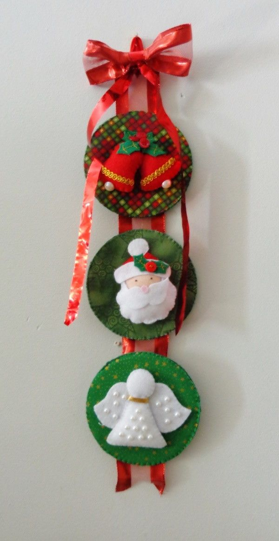 Pingente De Natal Trio Verde Enfeites De Natal Artesanal