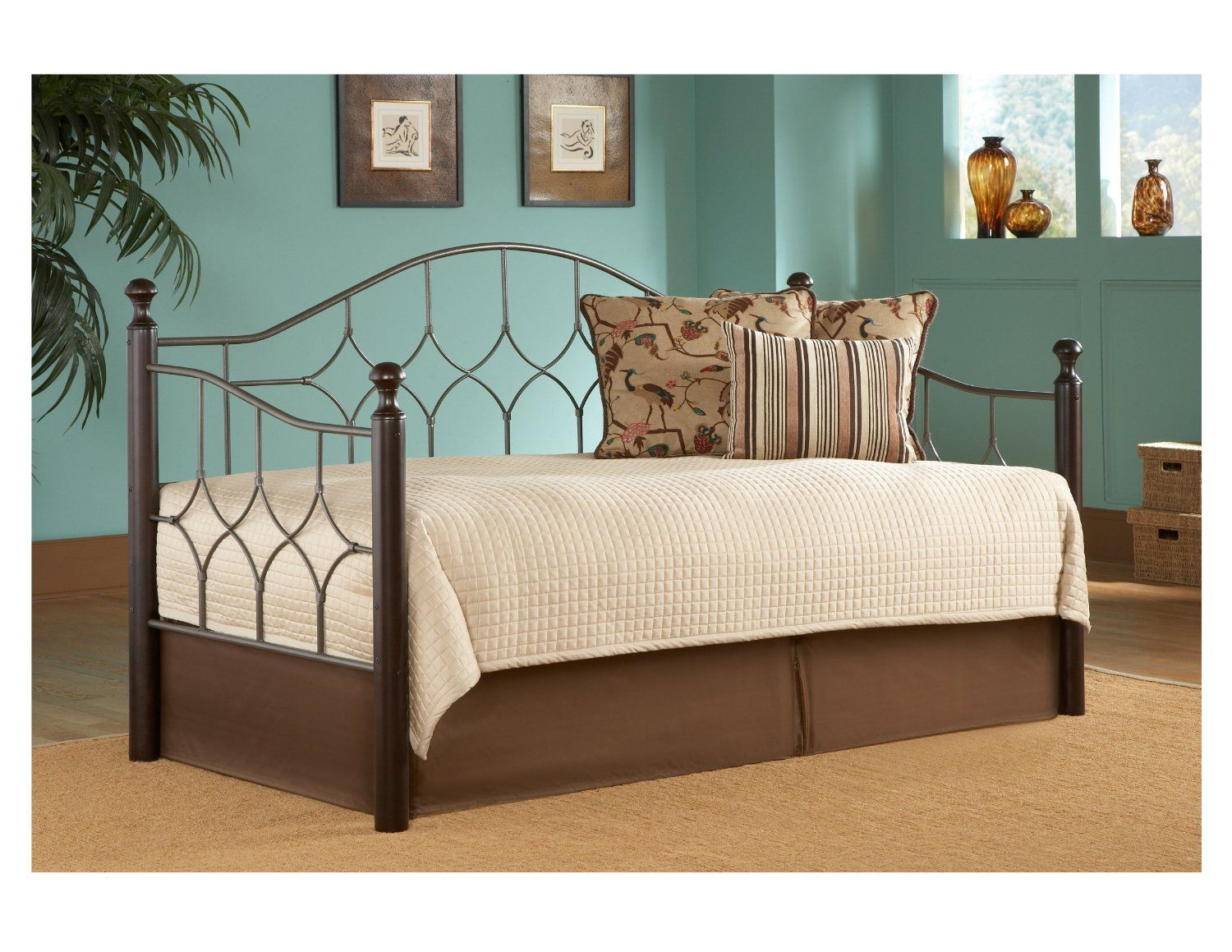 Bedroom, : Classy Light Blue Wall Painting Interior Design With Ikea Black Daybed For Decorating Bedroom Ideas Also White Sheet Black Iron Day Bed Also Brown Wooden Side Table With Brown Furry Rug