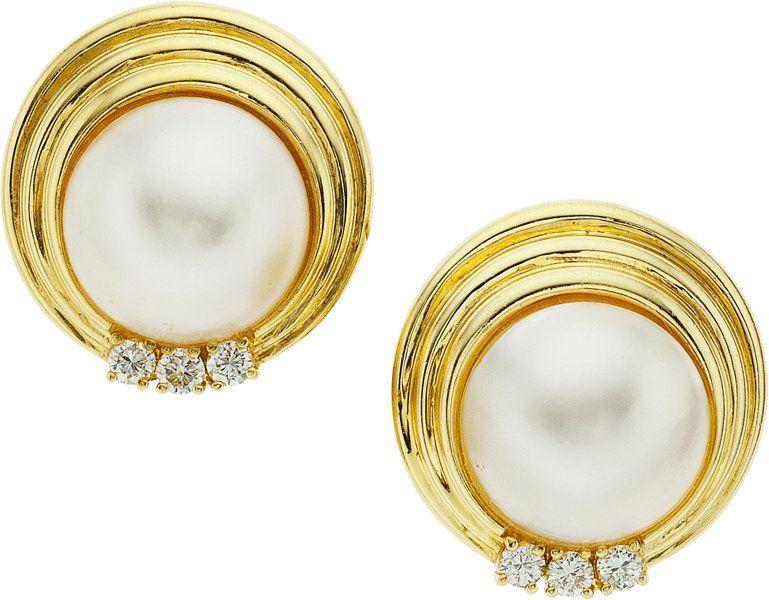 Estate Jewelry Earrings Mabe Pearl Diamond Gold