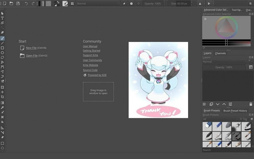 Krita a FOSS digital drawing app is now available for