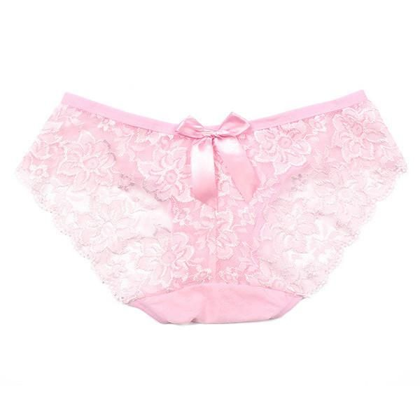 Women Sexy Lace Briefs Hollow Panty Flowers Bow Knot