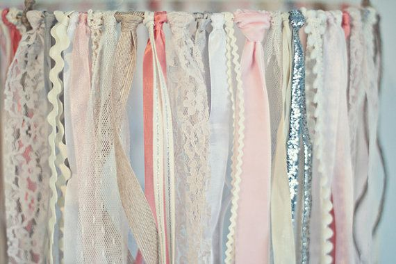 Baby Ribbon & Lace Mobile pink and ivory baby von TheGlitteredBarn