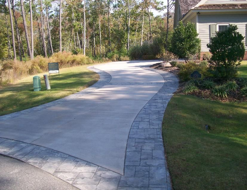 Stamped Concrete Border Driveway Stamped Concrete Driveway Concrete Patio Concrete Backyard