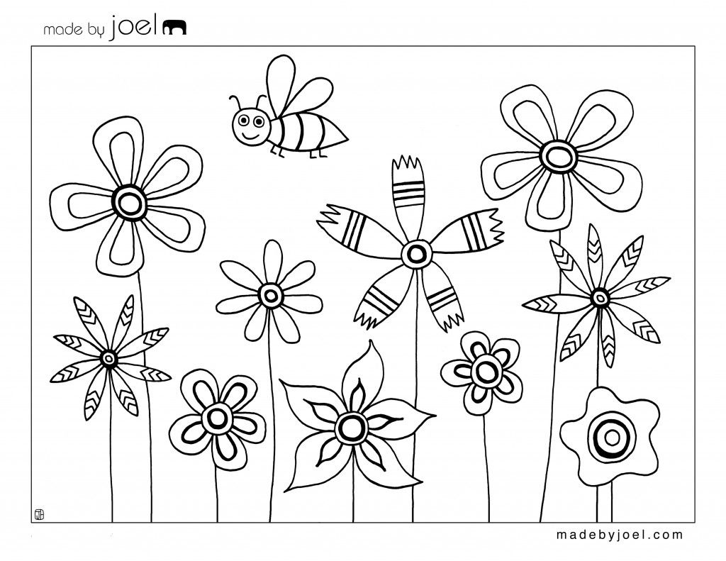 Bee And Flowers Coloring Sheet