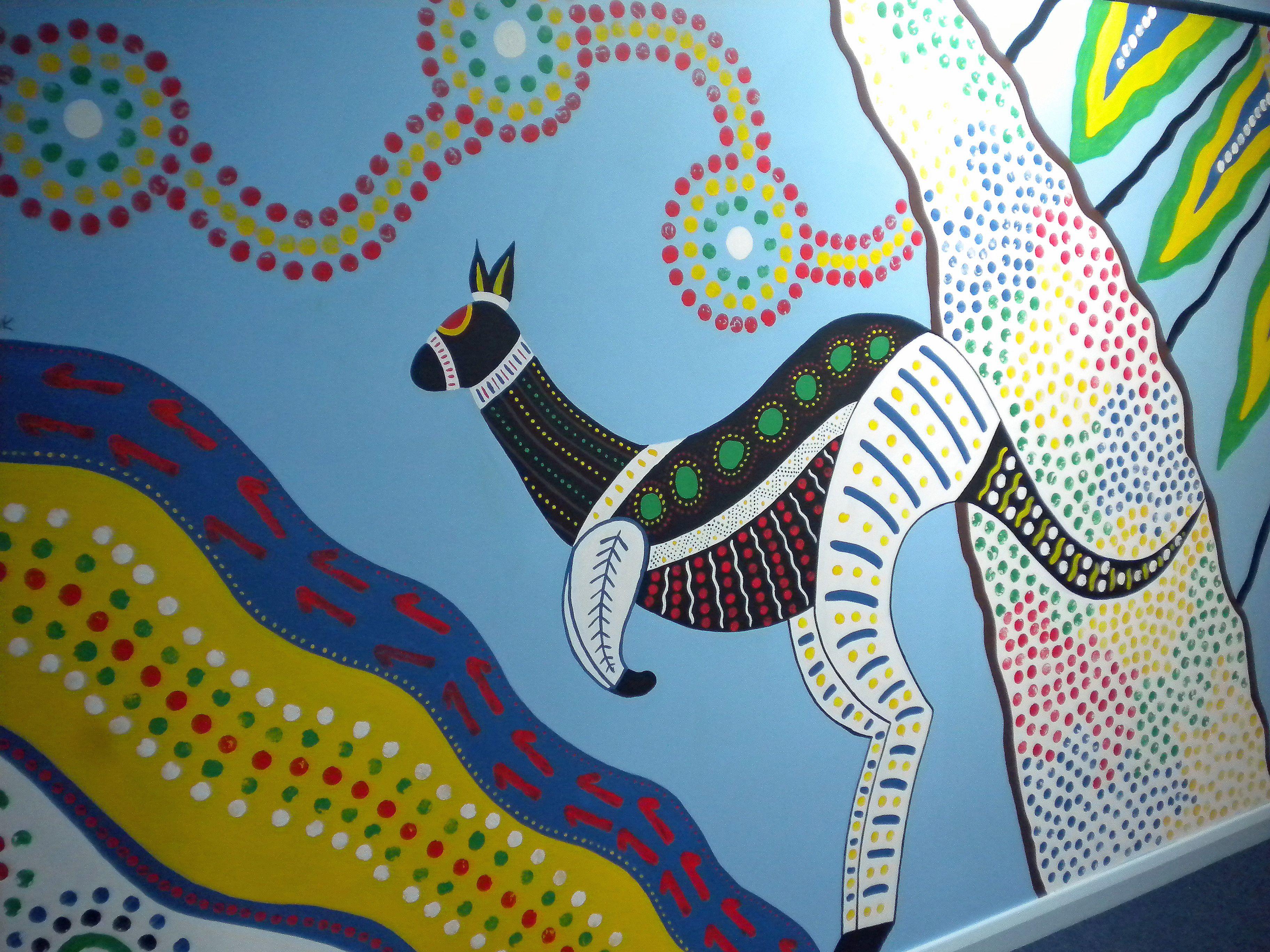 Aboriginal style mural for kangaroo classroom australia for Australian mural