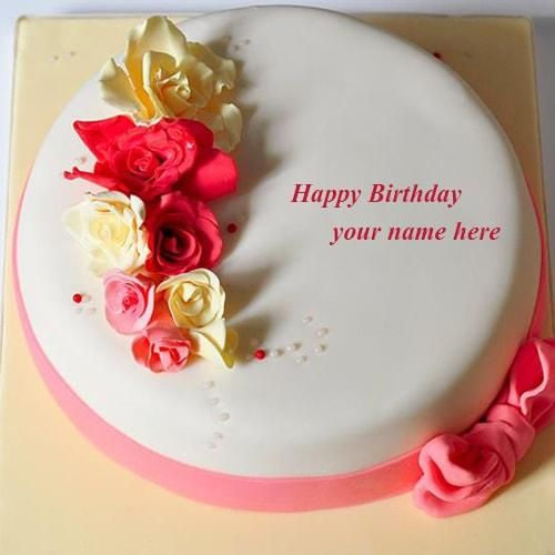Write Name On Rose Flowers Happy Birthday Cake Wishes Images Girls Pink Color