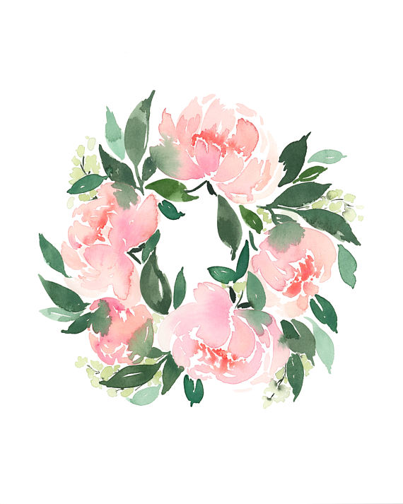 Peony Watercolor Flower Tattoos: Peony Wreath - INSTANT DOWNLOAD