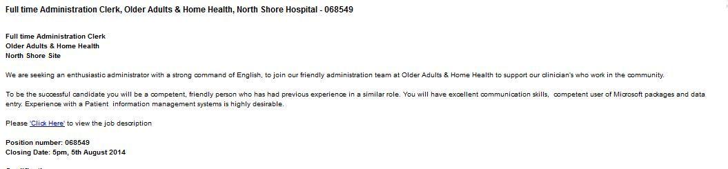 Ward Clerk (Part Time) - Ward 33 North, Medicine, Middlemore - webmaster job description