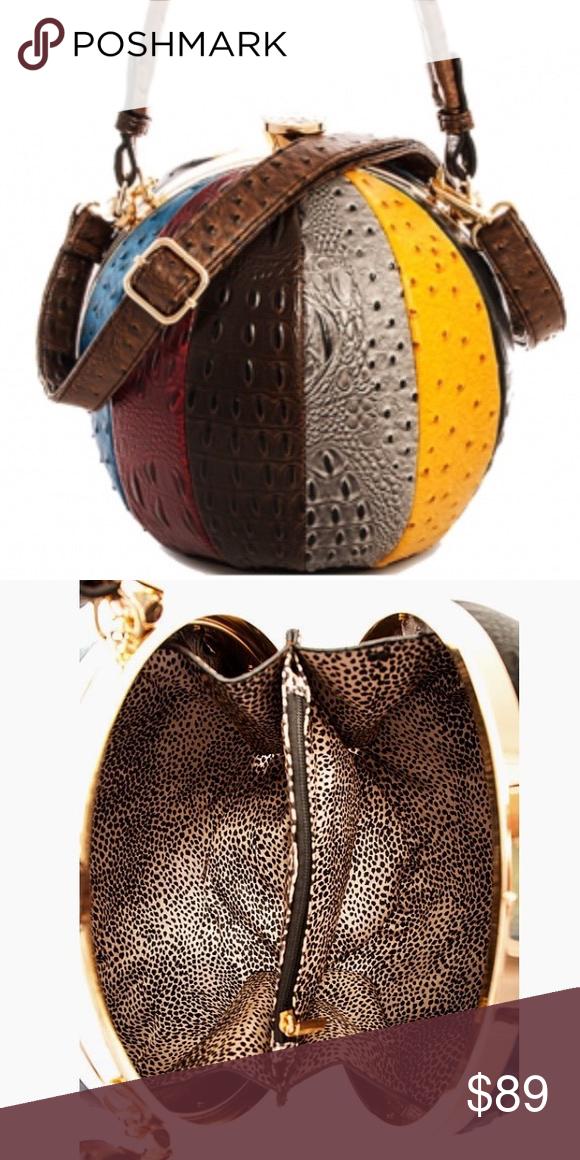 Round purse handbag multi color faux ostrich Round purse handbag multi  color faux ostrich 10 inches x 10 inches Comes with detachable adjustable  shoulder ... eb3a2d95ac