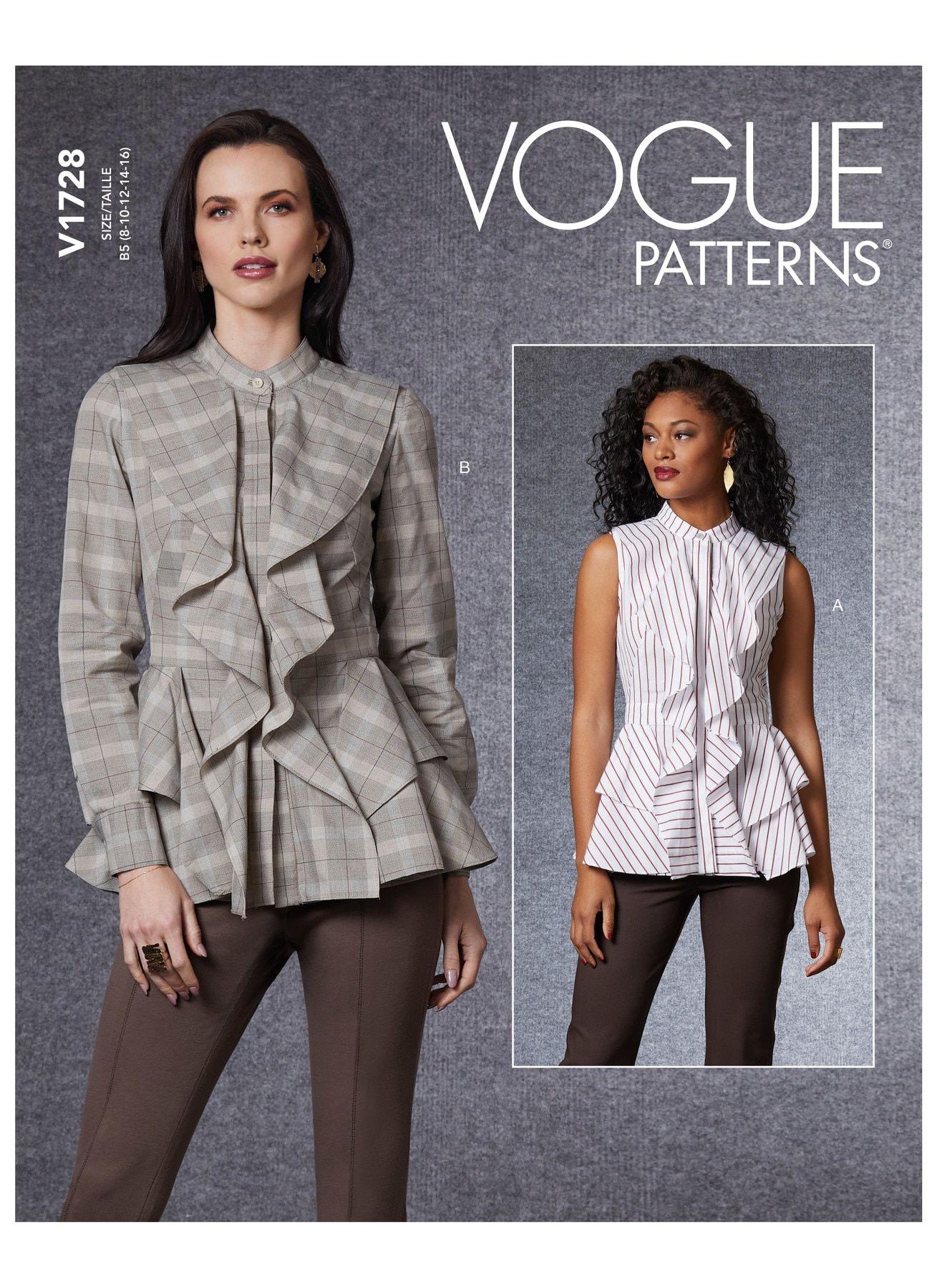 muy fácil Drapeado Delantero Blusa Talla 8-14 o 16-22 Nuevo Vogue Sewing Pattern 8669