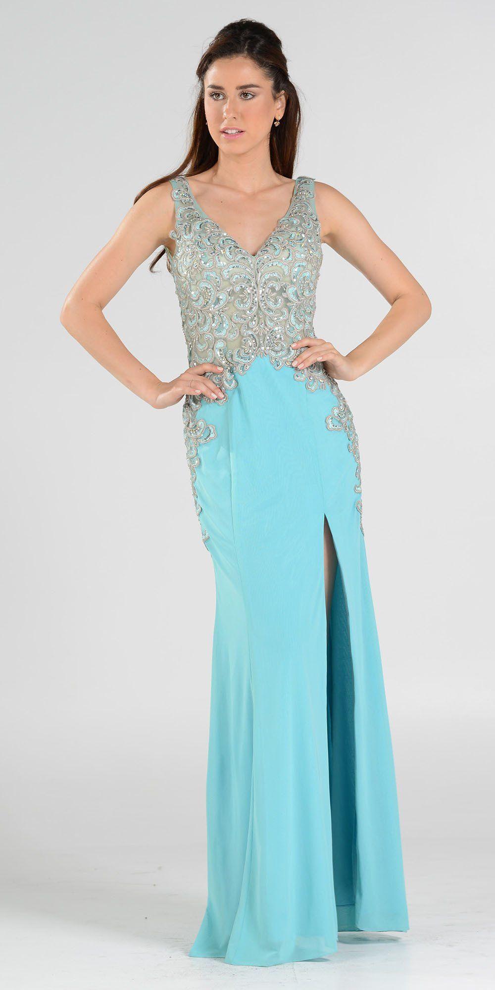 Aqua vneck sheer appliqued bodice long prom dress with slit prom