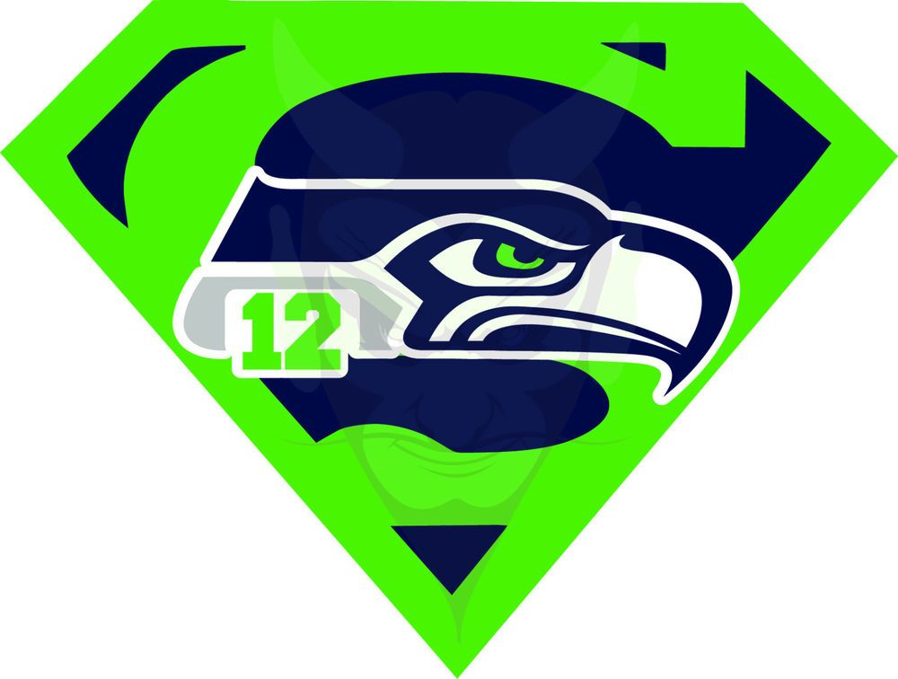 Seattle Seahawks 12th Man Superman Decals Full Color