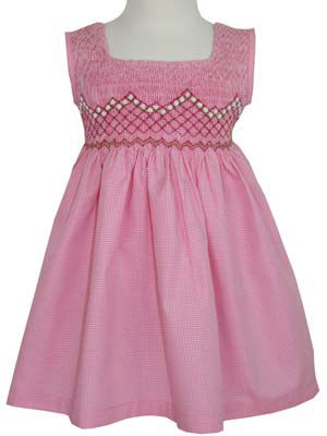 Pink and white check with roses 2T ready for spring or summer