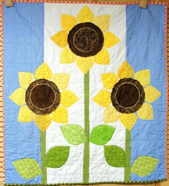 Handmade sunflower quilt- baby or wall art quilt- blue, yellow ...
