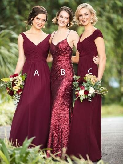 Dark Red Sequin Mismatched Custom Long Bridesmaid Dresses Wg235 Bridesmaid Weddin Bridesmaid Dresses Burgundy Bridesmaid Dresses Wedding Bridesmaid Dresses