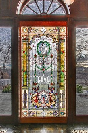 Eclectic Front Door With Fence Exterior Stone Floors Transom