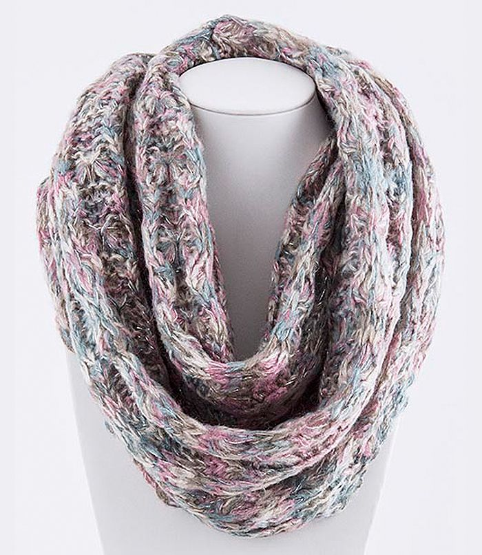 Gorgeous infinity scarf with a beautiful knit pattern, perfect for warmth and...